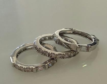 שלוש טבעות כסף - שלישית טבעות - סט טבעות כסף - טבעת כסף עם זרקונים - טבעת אירוסין