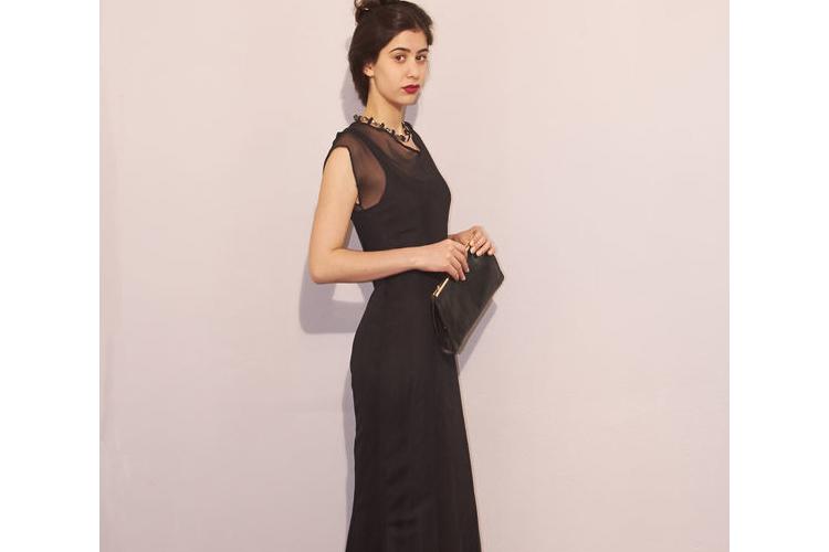 שמלת ערב מקסי שחורה - שמלת נשף קלאסית שחורה - שמלות נשף שחורות ארוכות
