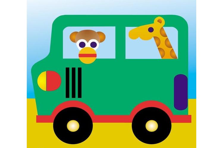פלייסמנטים לשולחן - מכונית ירוקה עם ג׳ירף וקוף