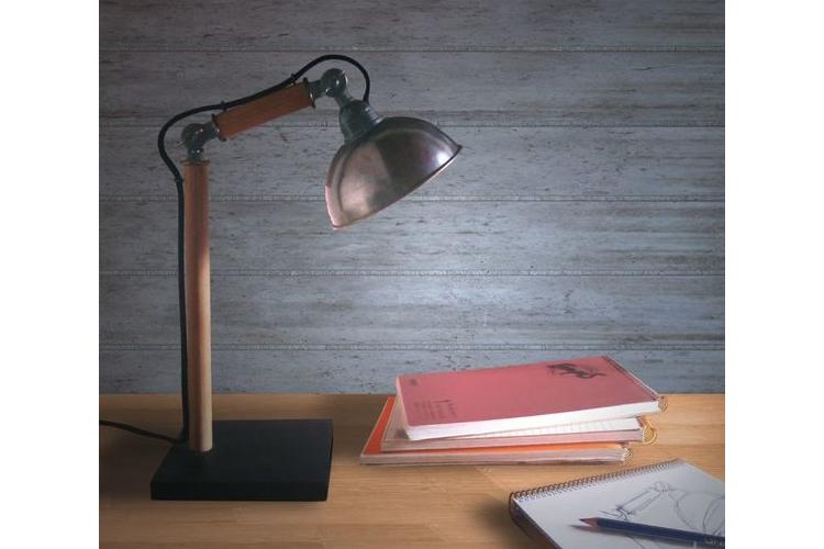 (איתן) - מנורת שולחן, גוף תאורה שולחני מעוצב מעץ ומתכת מתכוונן