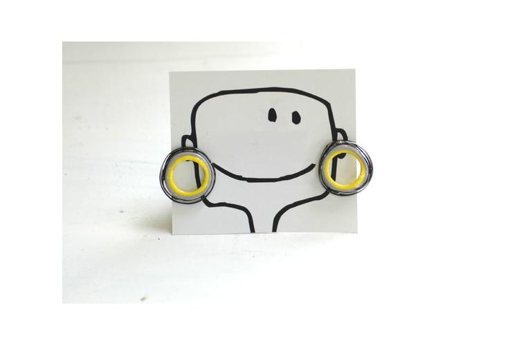 עגילי זכוכית - שחור צהוב