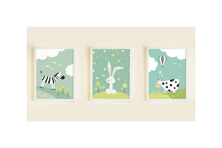 3 פוסטרים במחיר מיוחד! | פוסטרים לחדר ילדים | עיצוב חדר ילדים | פרה ארנב וזברה