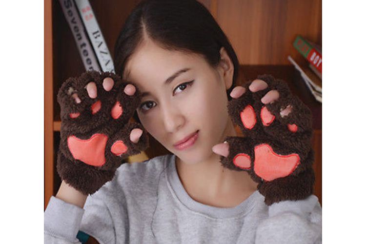 כפפות נשים| כפפות מחממות| כפפות צמר| כפפות חומות| כפפות אצבע| אקססוריז לנשים| מתנה לאישה| מתנה לנערה