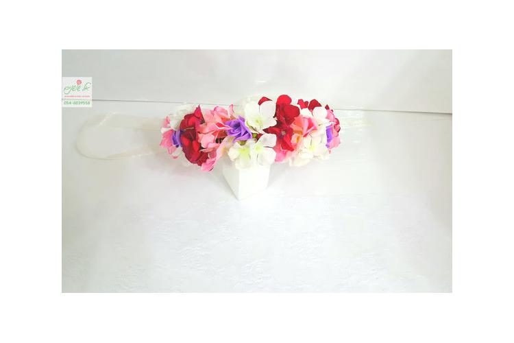 זר פרחים לראש אדום ורוד סגול לבן