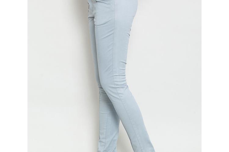 מכנס גבוה אפור , מכנסיים עם כיסים , מכנס סקיני צמוד