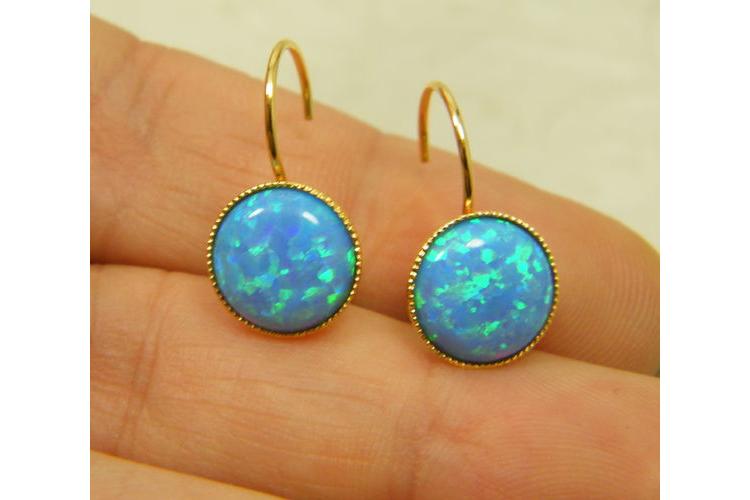 עגילי אופל כחול   עגילי גולדפילד   עגילי אבן תכלת   עגילים תלויים   תכשיטי אופל כחול   עגילי טורקיז
