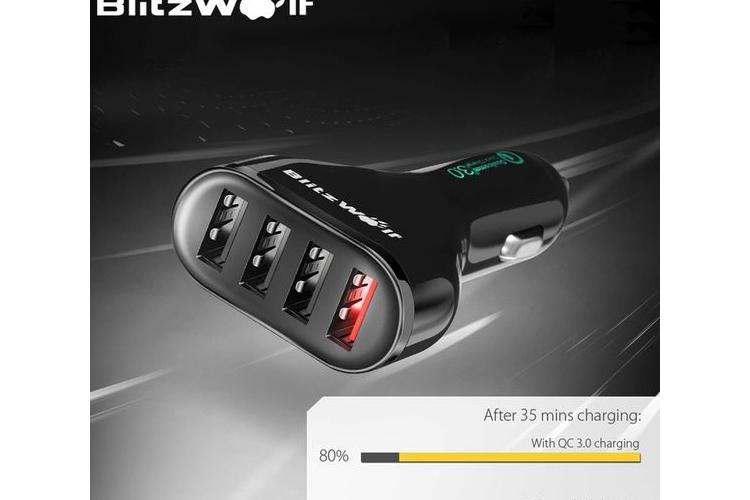 מטען מהיר ואיכותי לרכב כבל Qualcomm Certified BlitzWolf BW-C10 QC3.0 54W Power3S USB Car Charger Cable