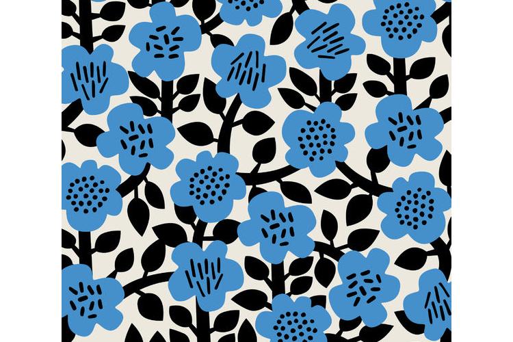 נייר עטיפה בהדפס כחול פרח שחור