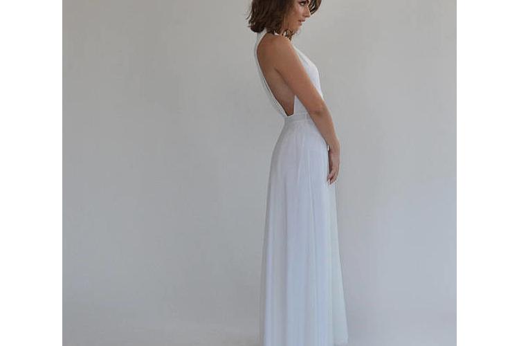 שמלת כלה בוהו שיק גב חשוף
