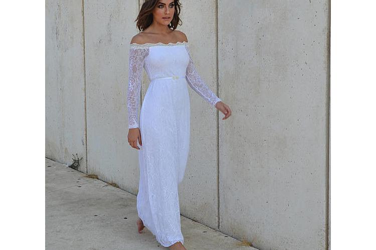 שמלת כלה תחרה כתפיים חשופות