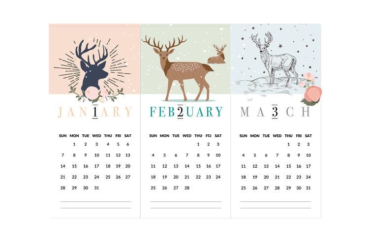 לוח שנה אישי 2020, לוח אישי עם הקדשה וציון תאריכים מיוחדים, לוח שנה דגם איילים