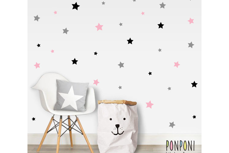 מדבקות קיר כוכבים 3 צבעים | מדבקות לחדר ילדים | מדבקות לחדר תינוקות | מדבקות לחדרי ילדים | עיצוב חדרי ילדים | מדבקות קיר