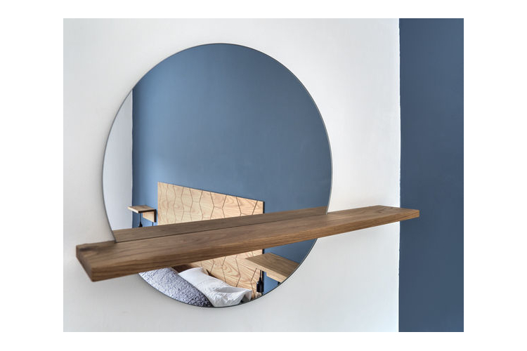 מדף עץ אלון עם מראה עגולה