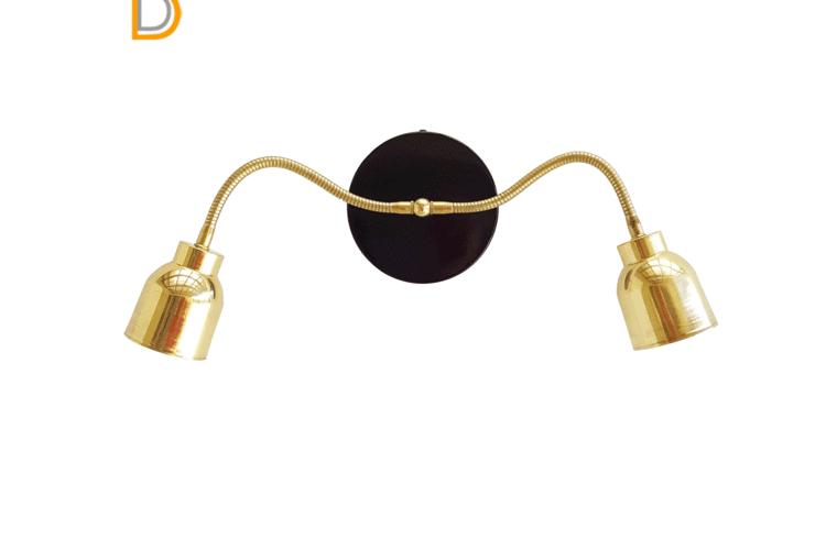 (ליאור)מנורת קיר שתי זרועות גמישות-מנורת קיר בצבע זהב ושחור-מנורת קיר מעוצבת-גוף תאורה לקיר