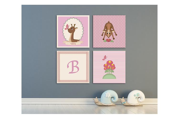 סט תמונות מעוצב | תמונה מעוצבת על קנבס | תמונות לחדר ילדים | סדרת במבי