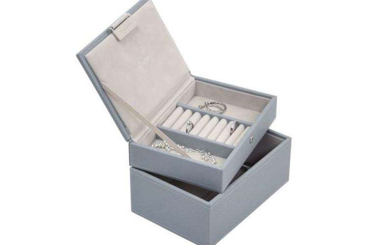 קופסת תכשיטים מודולרית 2 קומות - כחול עשן
