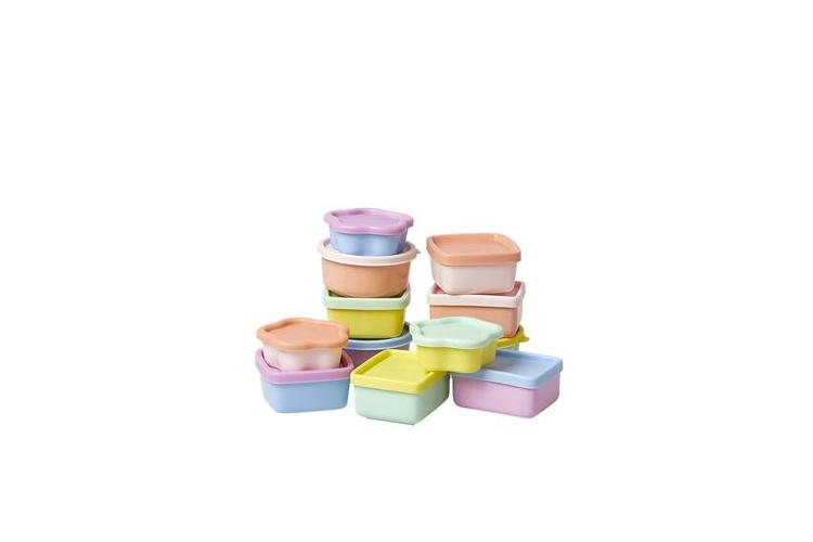 סט 12 קופסאות פלסטיק במארז רשת בגדלים שונים