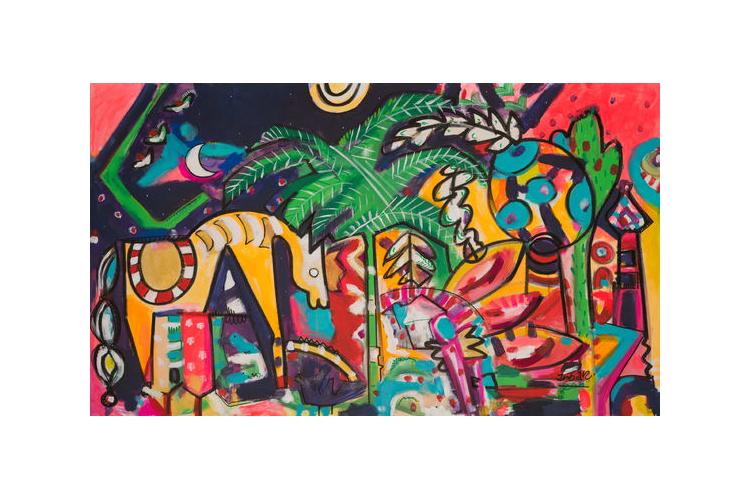 ענבר רייך ציירת / ציור גדול לבית / אומנות ישראלית / עבודה מעורבת/ ציור ענק לסלון/ ציור של מלכה
