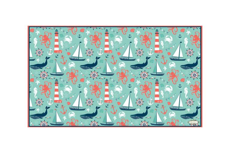 שטיח ויניל דגם לווייתנים | שטיח pvc מעוצב לבית