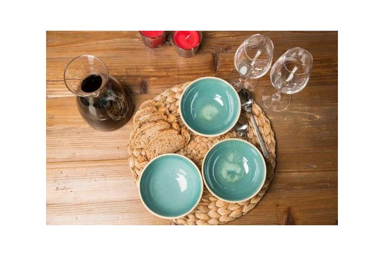 סט שלישיית קערות קרמיקה אישיות בצבע טורקיז בהיר עשוי עבודת יד (מיוצר לפי הזמנה)