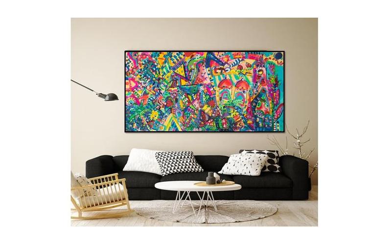 תמונה גדולה לבית, עיצוב פנים, תכשיטים לקירות של הציירת ענבר רייך ,ציורים צבעוניים, ציור מקורי, אמנות ישראלית