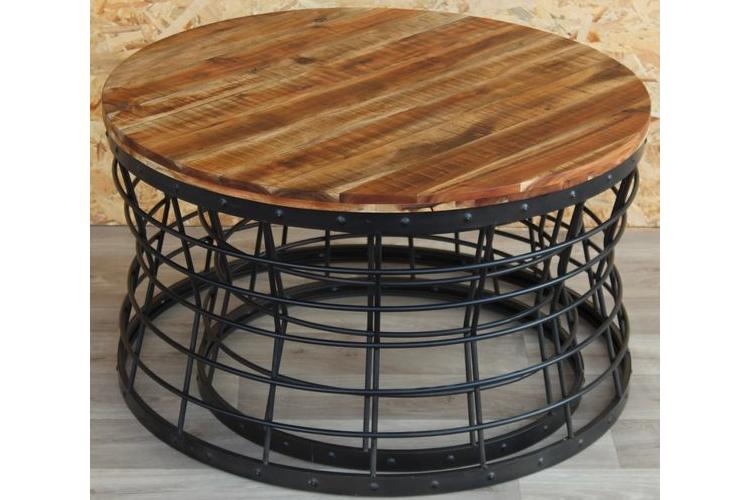 """שולחן סלון עגול 80 ס""""מ עץ וברזל-B-ליאור"""
