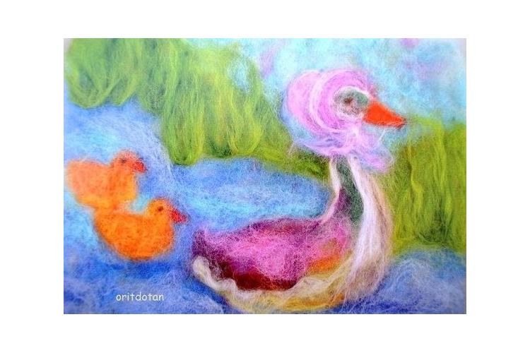 תמונה לילדים, כרטיס ברכה לילדים, אמא אווזה, ציור מקורי צויר בצמר כבשים