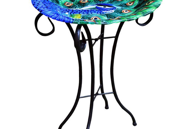 סטנד רחצה ושתייה לציפורים בגינה ובמרפסת -דגם טווס