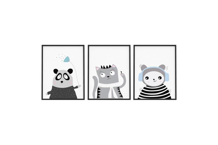 שלישיית הדפסים מתוקים לחדר הילדים   פוסטרים לחדר ילדים   עיצוב חדר ילדים   פוסטר לחדר ילדים   פוסטר לילדים   פוסטר עם איורים של בעלי חיים