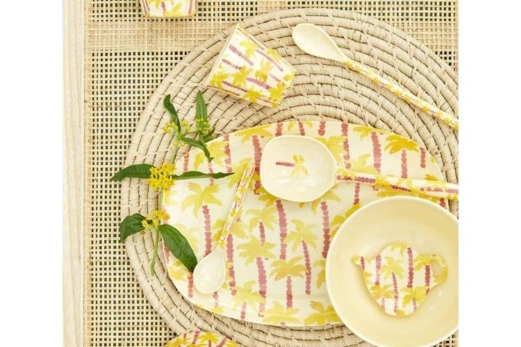 מגש מלמין אובלי | הדפס עץ דקל צהוב | RICE DK