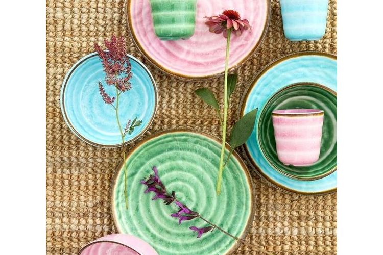 צלחת מנה ראשונה מלמין דמוי קרמיקה בצבע ורוד | RICE DK