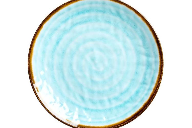 צלחת מנה ראשונה מלמין דמוי קרמיקה בצבע אקווה | RICE DK