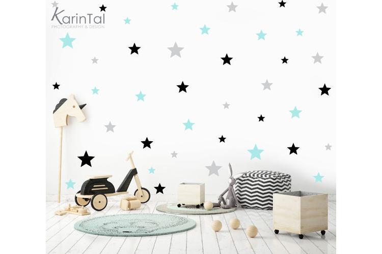 מדבקות קיר לחדר ילדים 3 צבעים | מדבקות כוכבים | מדבקות לחדר בנים בנות | מדבקות כוכבים בשלושה צבעים | מדבקות ויניל | מדבקות קיר