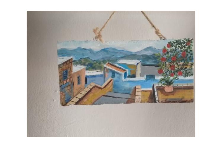 ציור בצבעי שמן על עץ