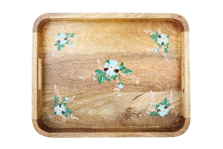 מגש עץ עם פרחים תכלת | RICE DK | SOFI