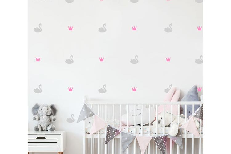 מדבקות קיר ברבורים כתרים   מדבקות קיר לחדרי ילים   מדבקות לחדר ילדים