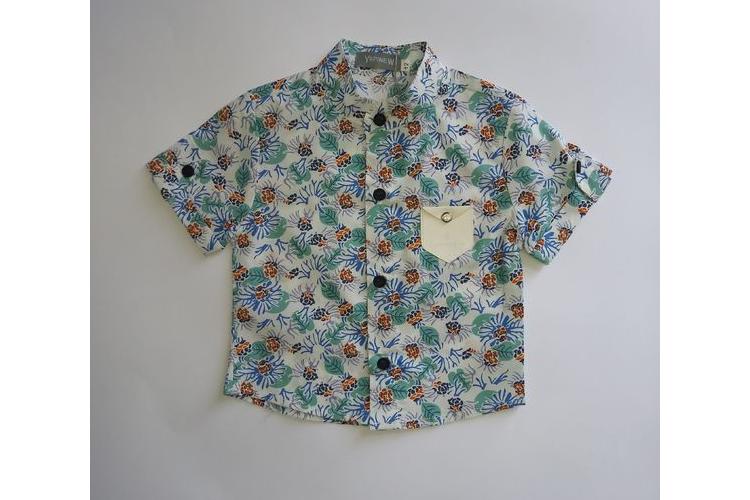 חולצה פרחונית לילדים גווני תכלת צווארון סיני
