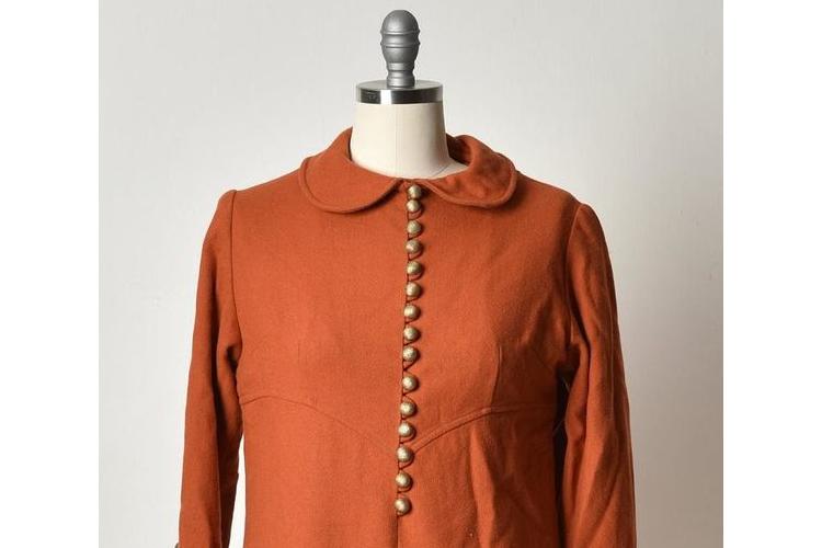 טוניקה, טוניקה חומה, טוניקה מכופתרת, חולצה ארוכה, חולצה צבע חמרה, חולצה עם צווארון, מידה M, טוניקה וינטג'
