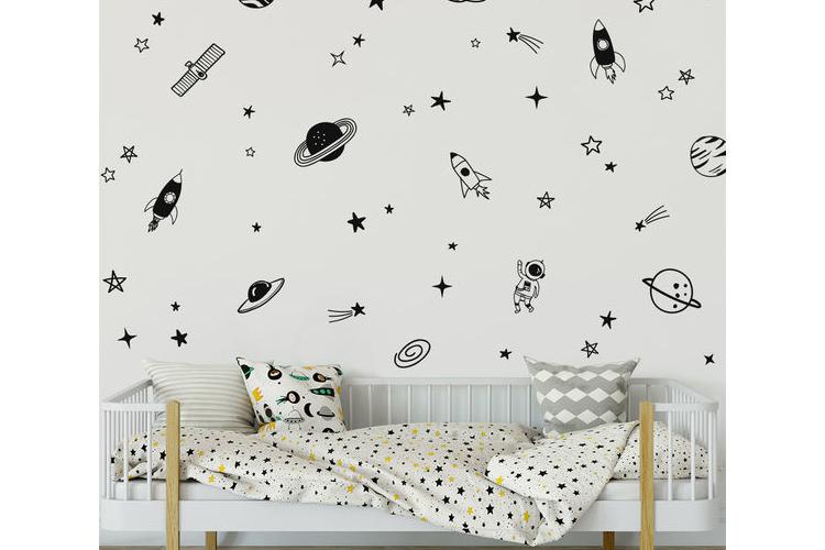 מדבקות קיר חלל לחדר ילדים | מדבקות לחדר תינוקות ונוער | חלל החיצון | מדבקות קיר כוכבים