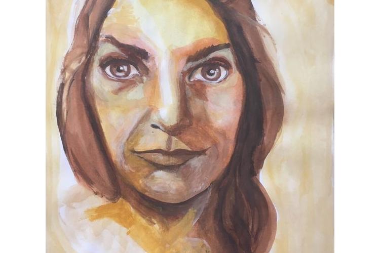 פורטרט אישה. אקוורל על דף בגודל A4