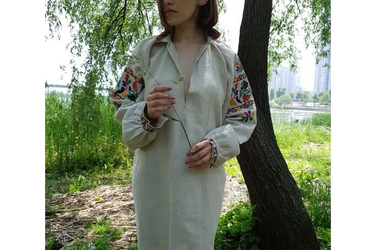חולצת וינטז/שימלה אוברסייז המפ אורגני , אריגה ביד