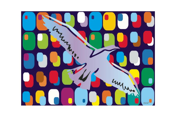 פלייסמנטים / פלייסמטס לשולחן - נשר על רקע צבעוני בהשראת מפעל ״דקו״ לצבע.
