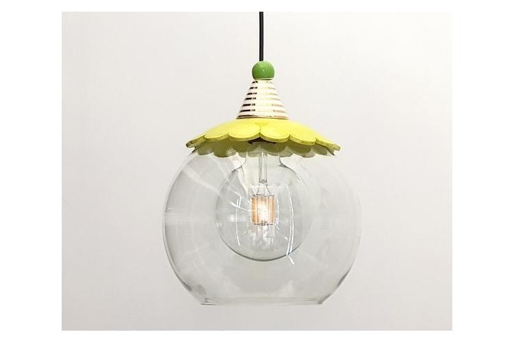 נברשת זכוכית שקופה - כדור זכוכית שקוף - מנורה צבעונית - קרמיקה צבעונית עבודת יד - עיטור זהב