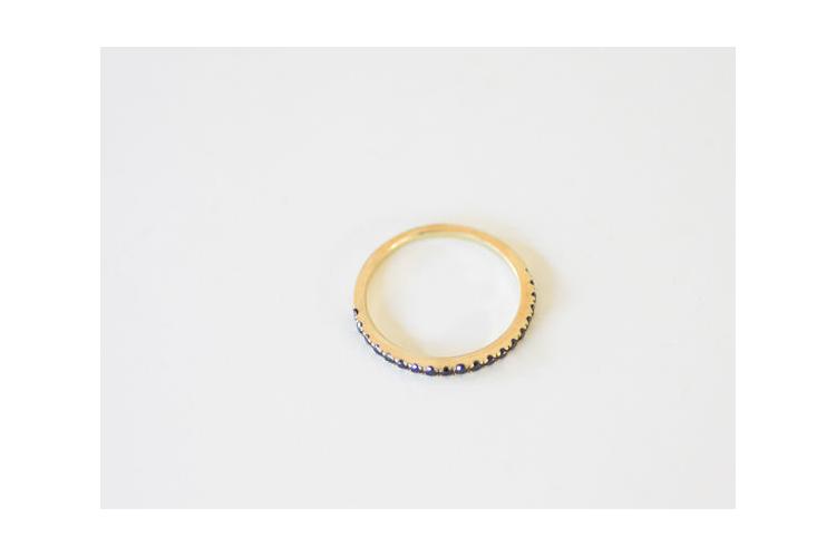 טבעת זהב אטרניטי 14K ויהלומים שחורים
