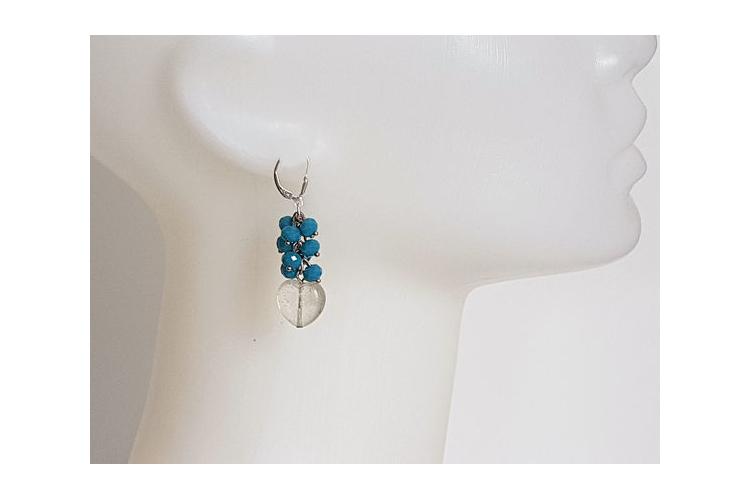עגילי לבבות וחרוזים | עגילי תכלת | עגילים כחולים | עגילים מיוחדים