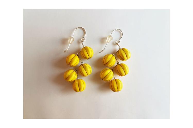 עגילי מפל צהובים   עגילים צהובים   עגילים תלויים   עגילי אבני חן וכסף