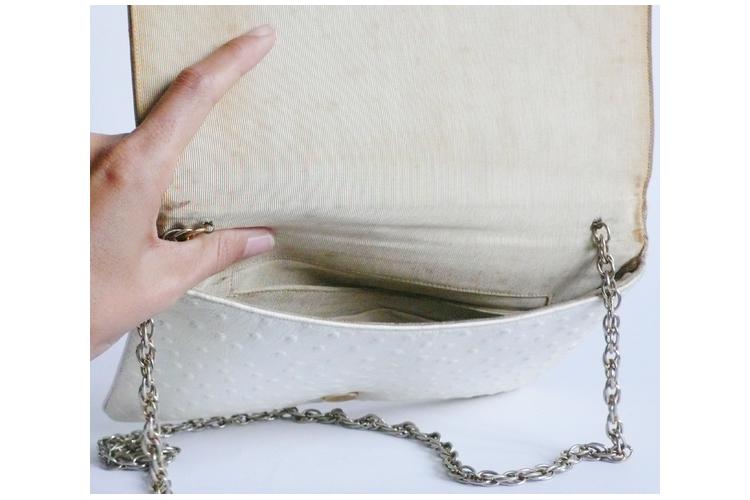תיק עור יען קלאץ' לבן קרם 20% הנחה | תיק וינטג' עור יען צבע לבן מקורי משנות ה-'50