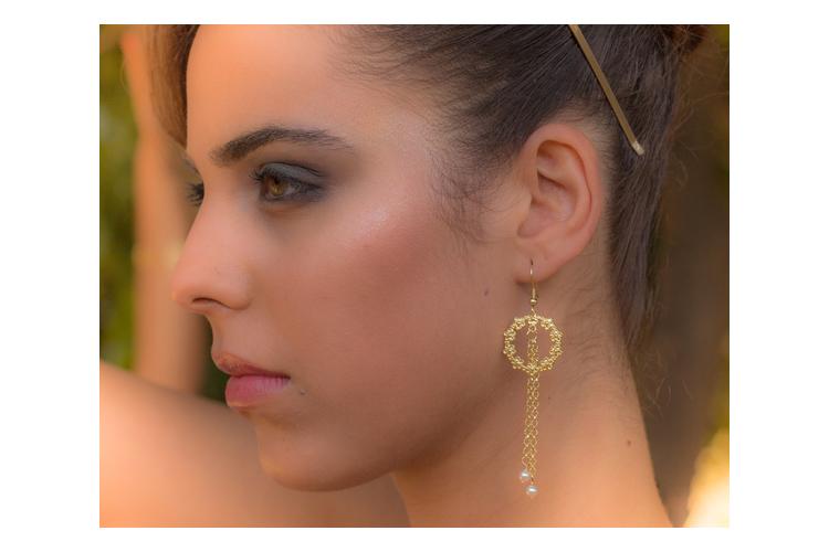 עגילי זהב תלויים, עגילי פרחים, עגילי קריסטלים