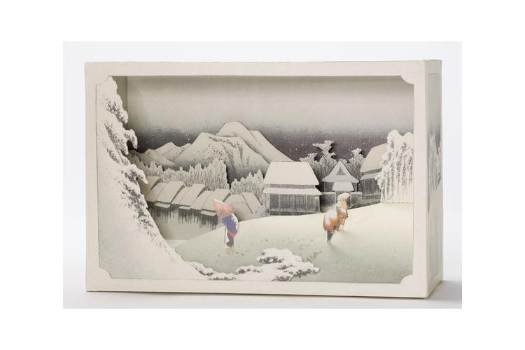 יצירה | ציור נוף | יצירה בנייר | DIY | אמנות יפנית | כפר בשלג | הירושיגה