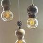 רביעיית מנורות אפור-ברונזה-תכלת|מנורה צבעונית|תאורה מיוחדת|תאורה מעוצבת|גוף תאורה|תאורה לבית